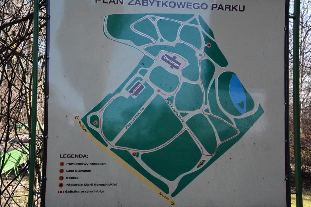 Żarnowiec, Muzeum Marii Konopnickiej, plan parku