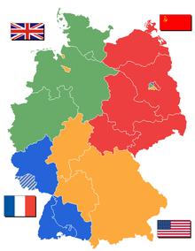 mapa podzielonych Niemiec