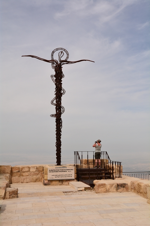 krzyż i laska Mojżesza, pomnik, Góra Nebo