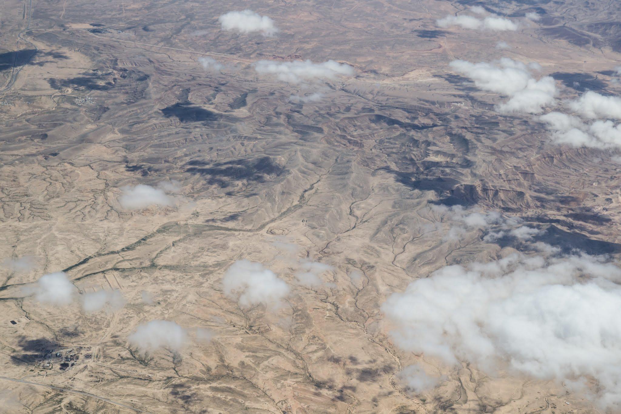 Izrael, Pustynia Negew z okien samolotu