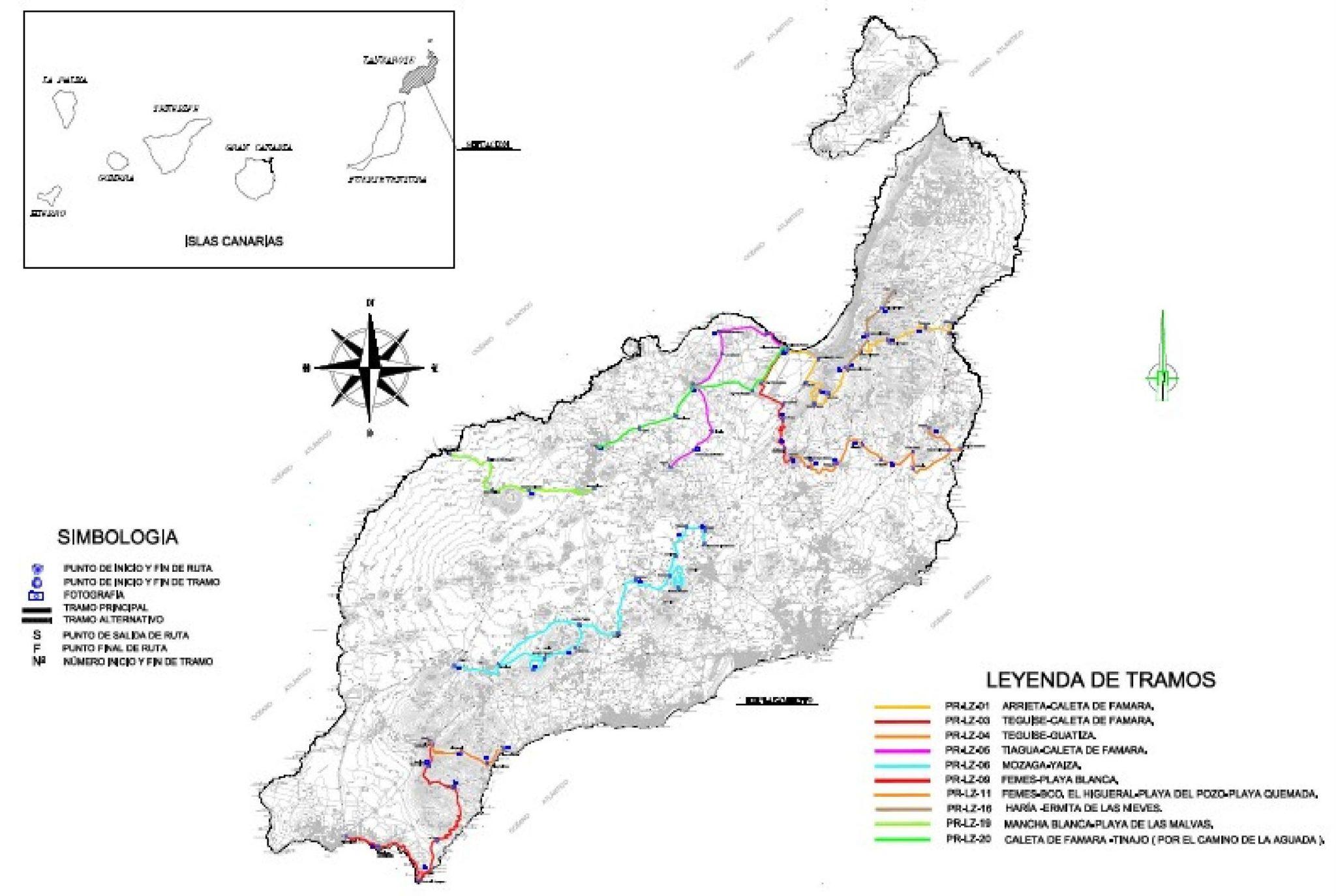 Lanzarote schemat szlaków