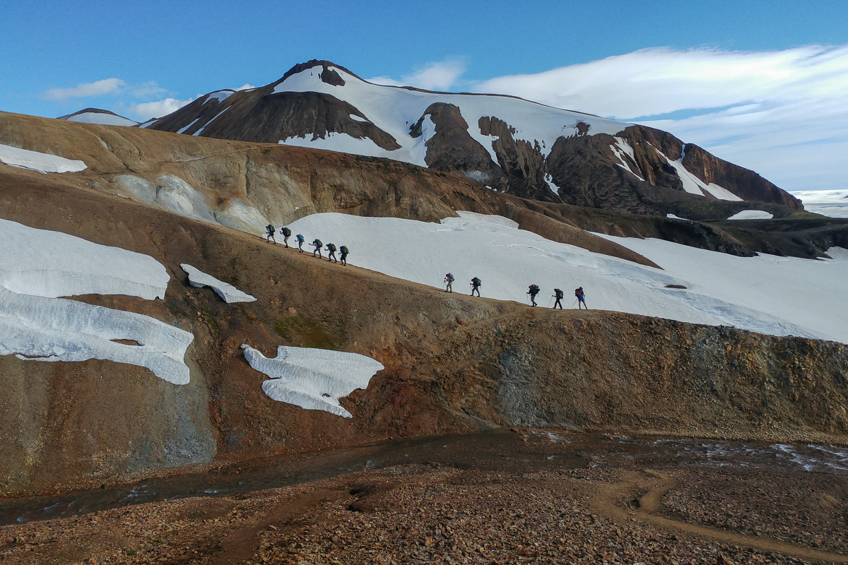 Laugavegur, Hellismannaleid i Fimmvörðuháls islandzki trekking z elfami