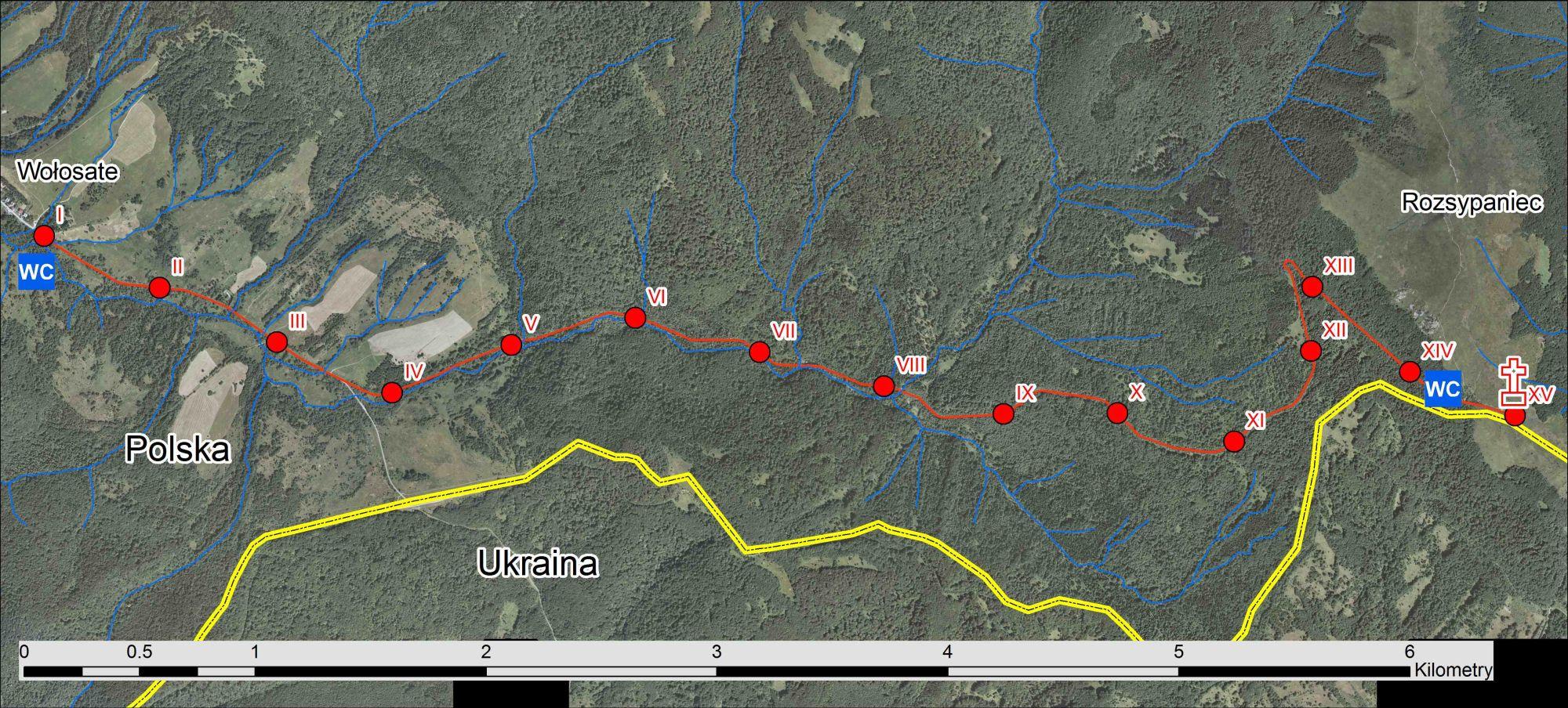 droga krzyżowa Bieszczady, mapa