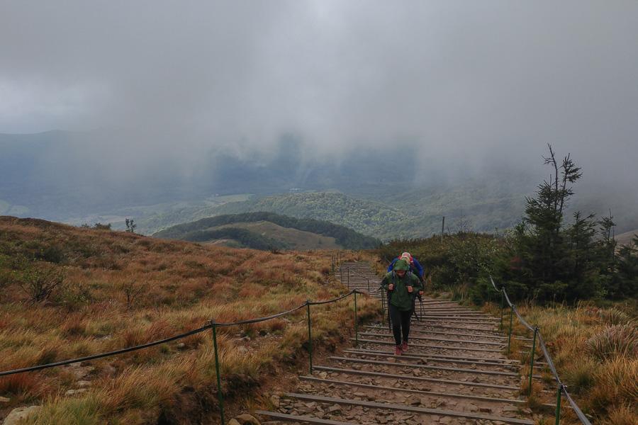 schody na Tarnicę, Bieszczady, szlak niebieski z Wołosatego