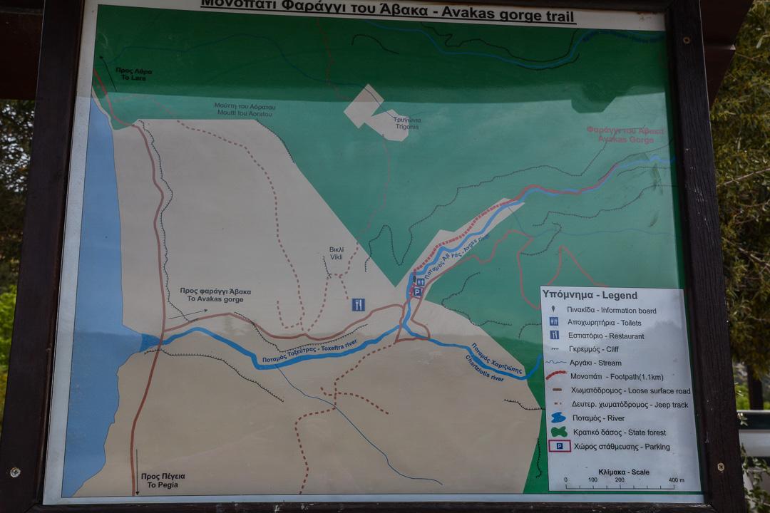 Wąwóz Awakas, Cypr, mapa szlaku