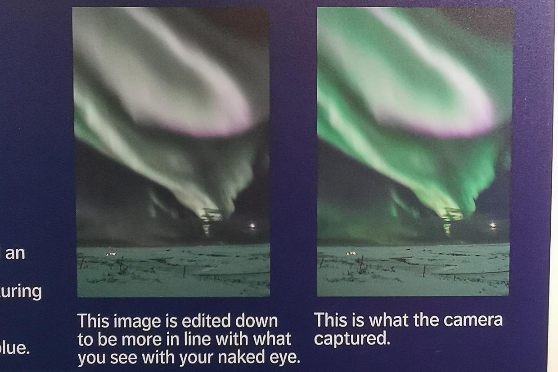 zorza polarna widziana okiem ludzkim