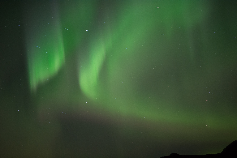 okolice Hengill, Islandia, noc z zorzą polarną