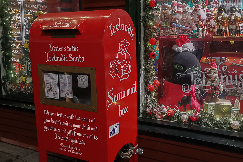 sklep bożonarodzeniowy w Reykjaviku, skrzynka na listy do św. Mikołaja