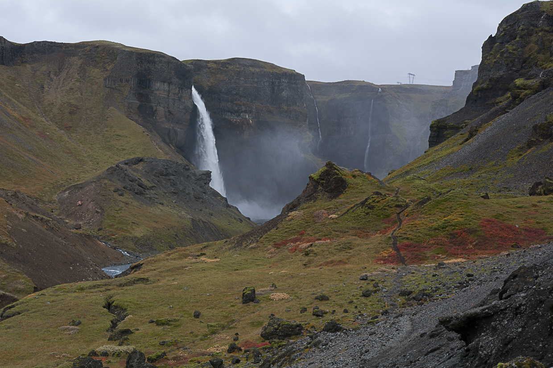 wodospady Haifoss i Granni, rzeka Fossa, Islandia, Þjórsárdalur