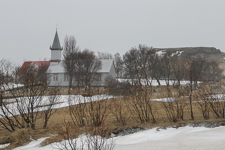 kośiółek w Hruni, niedaleko Fludir i gorącego źródła Hrunalaug