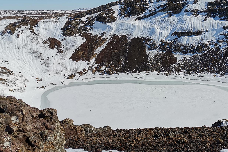 Kerið zimą, Złoty Krąg na Islandii