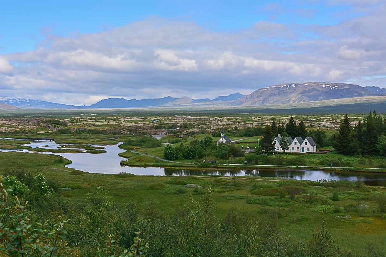 Golden Circle, Złoty Krąg na Islandii, Park Narodowy Þingvellir latem