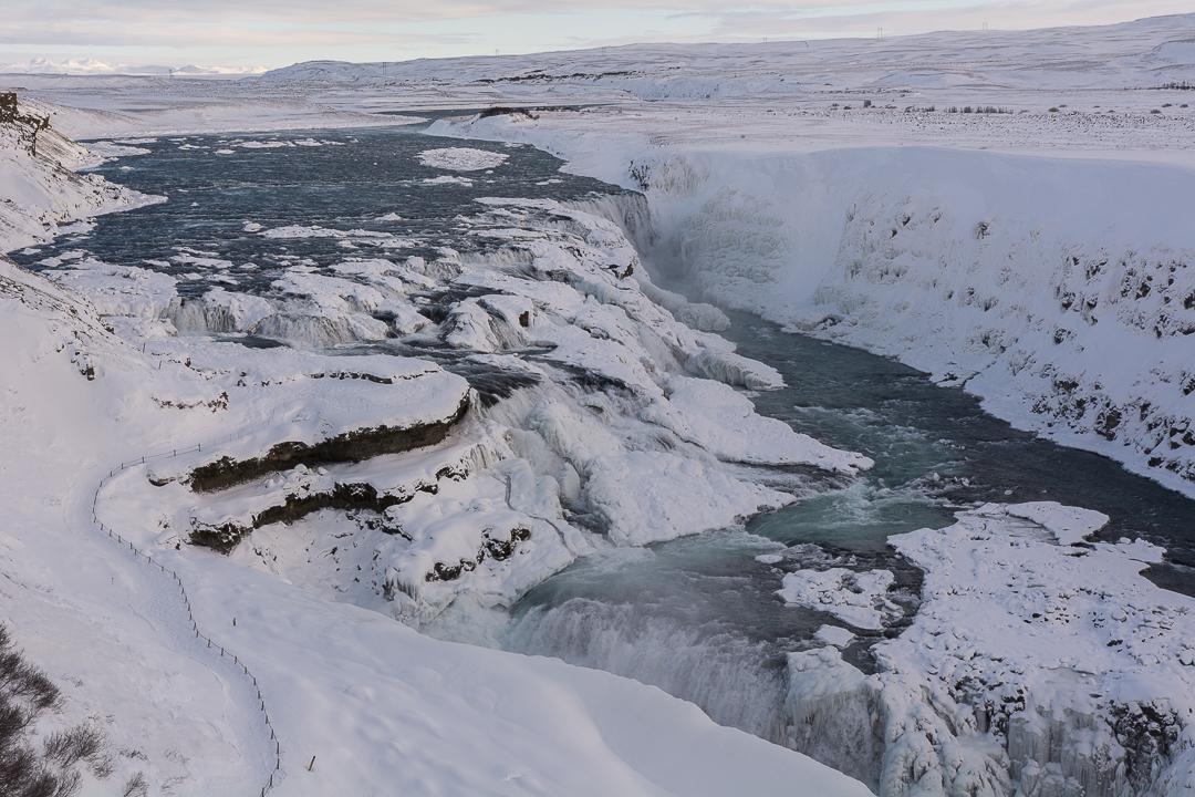 wodospad Gullfoss zimą, Golden Circle na Islandii
